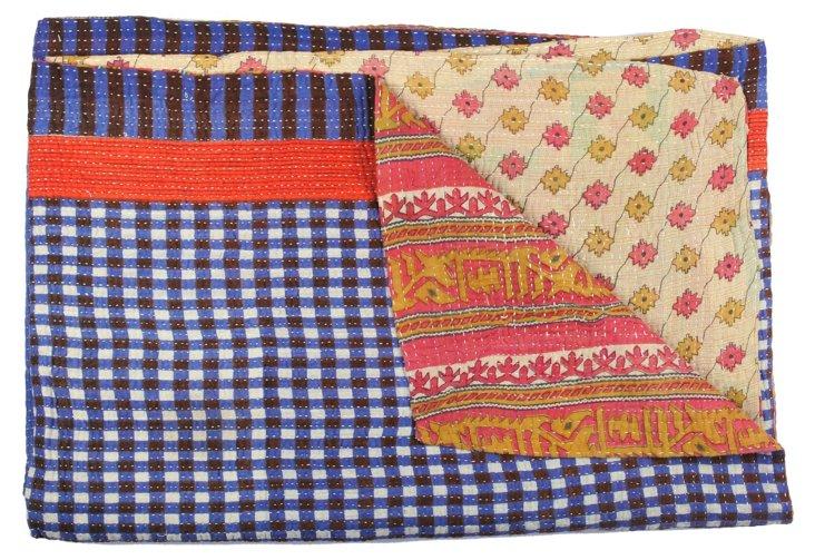Hand-Stitched Kantha Throw, Ihita