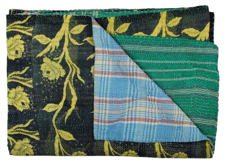 Hand-Stitched Kantha Throw, Coppan
