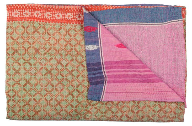 Hand-Stitched Kantha Throw, Jaca