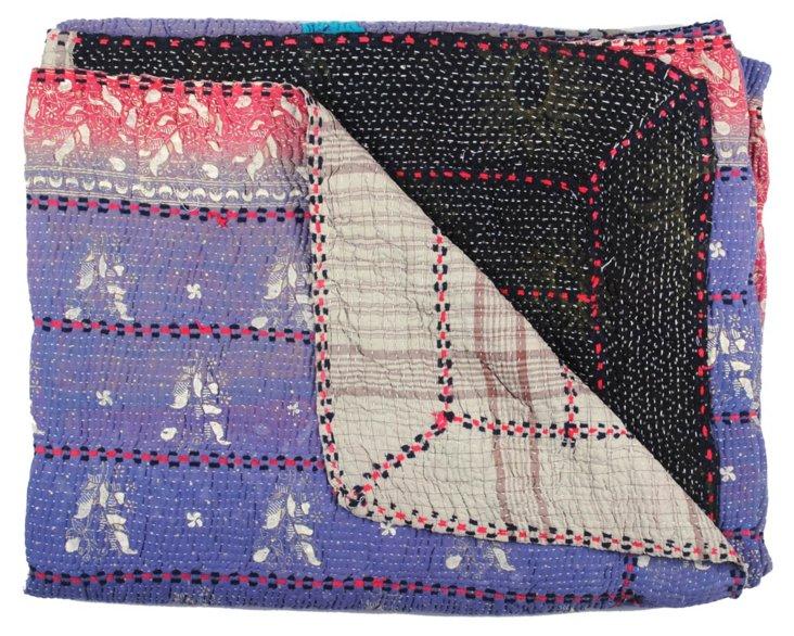 Hand-Stitched Kantha Throw, Ishita