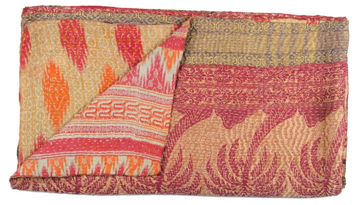 Hand-Stitched Kantha Throw, Teertha