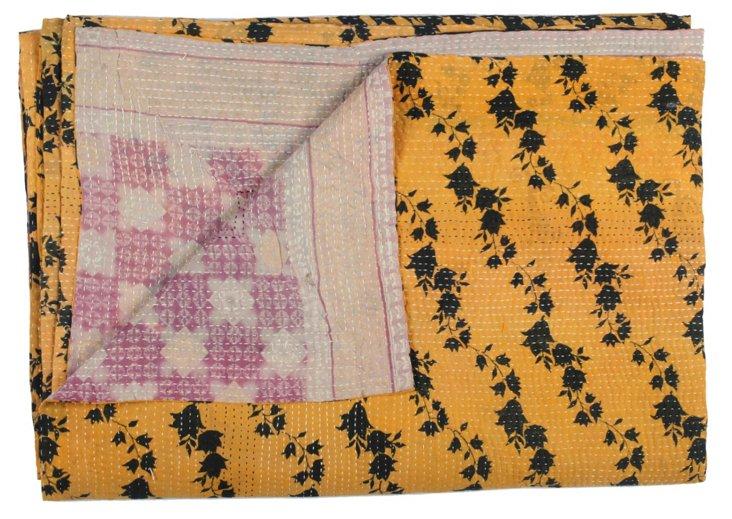Hand-Stitched Kantha Throw, Minya