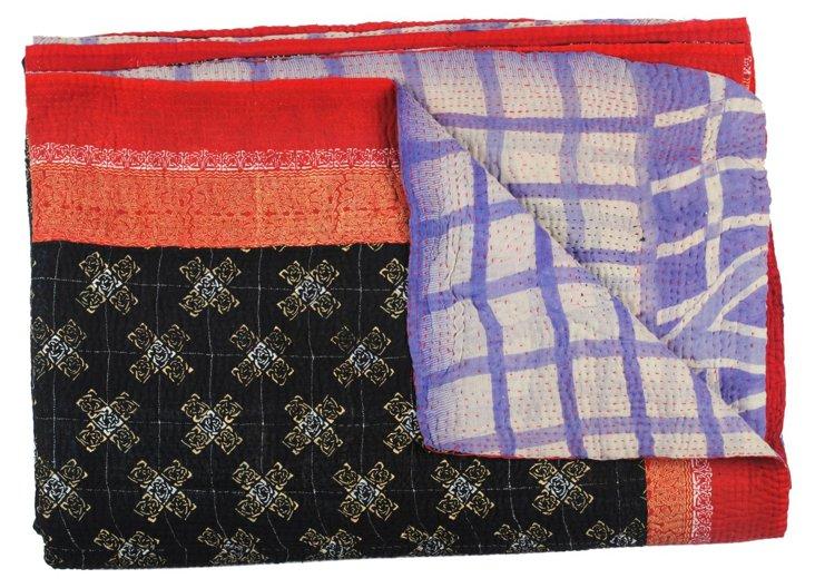 Hand-Stitched Kantha Throw, Zig Zag