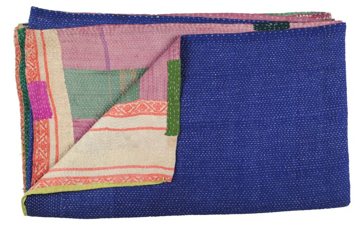 Hand-Stitched Kantha Throw, Lily