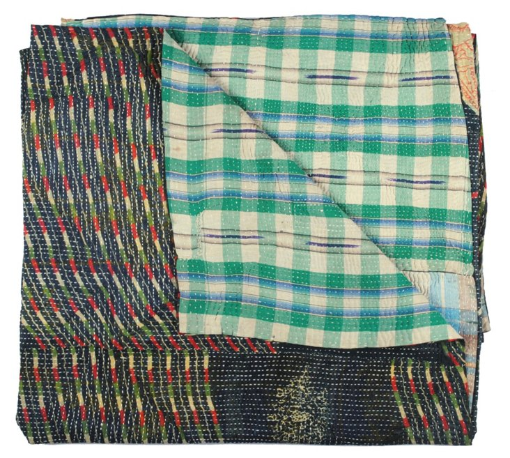 Hand-Stitched Kantha Throw, Gourana