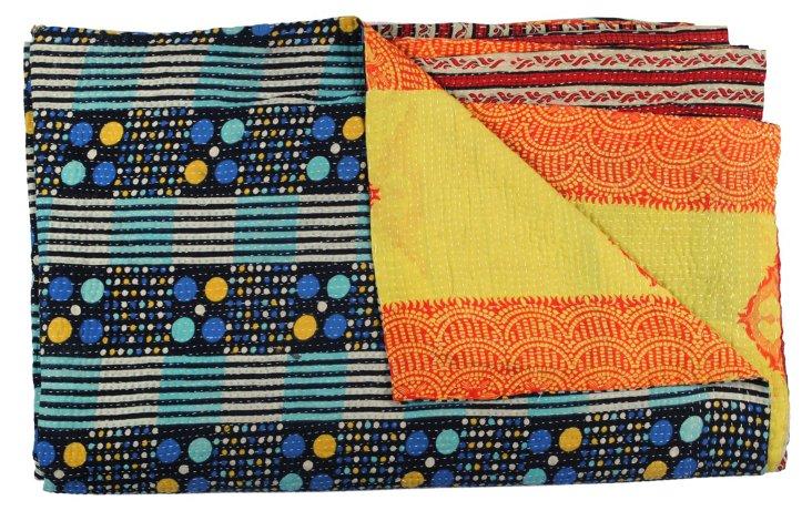 Hand-Stitched Kantha Throw, Zaio