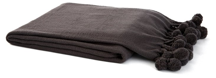 Pom-Pom Cotton Throw, Charcoal