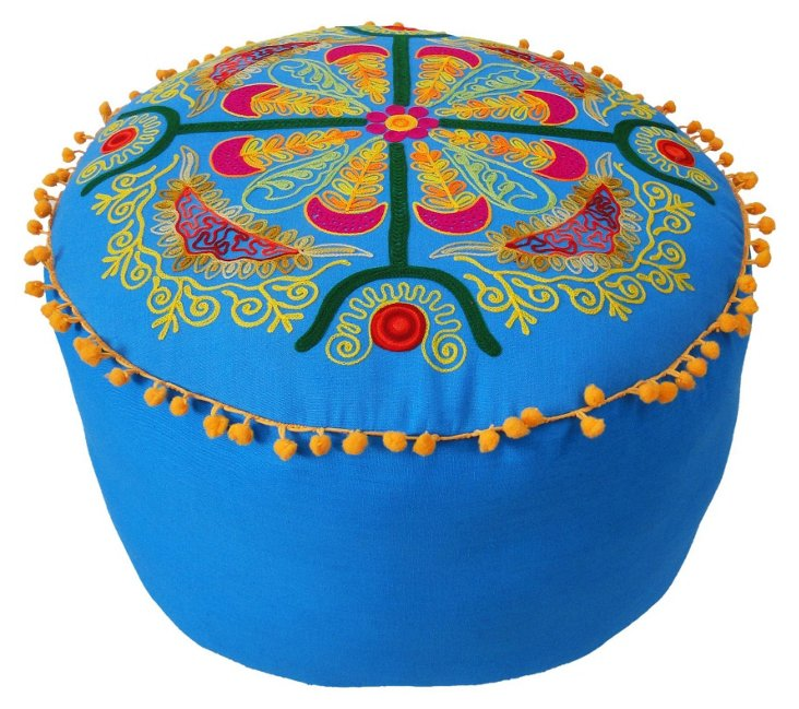 Francine Embroidered Cushion, Blue