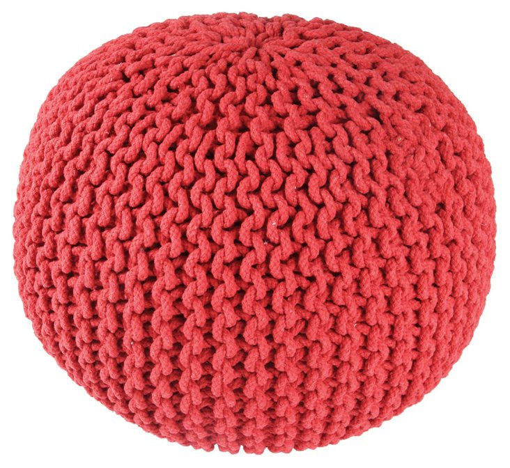 Issey Knitted Pouf, Coral