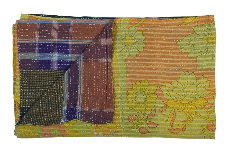 Hand-Stitched Kantha Throw, Mickey