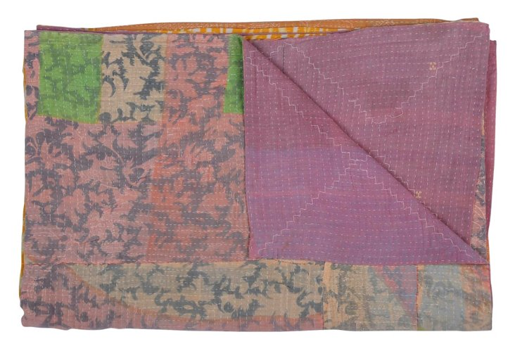 Hand-Stitched Kantha Throw, Narragansett