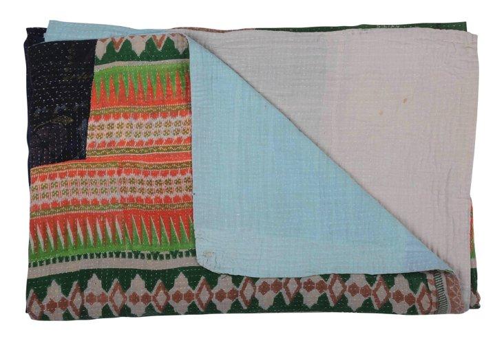Hand-Stitched Kantha Throw, Joy