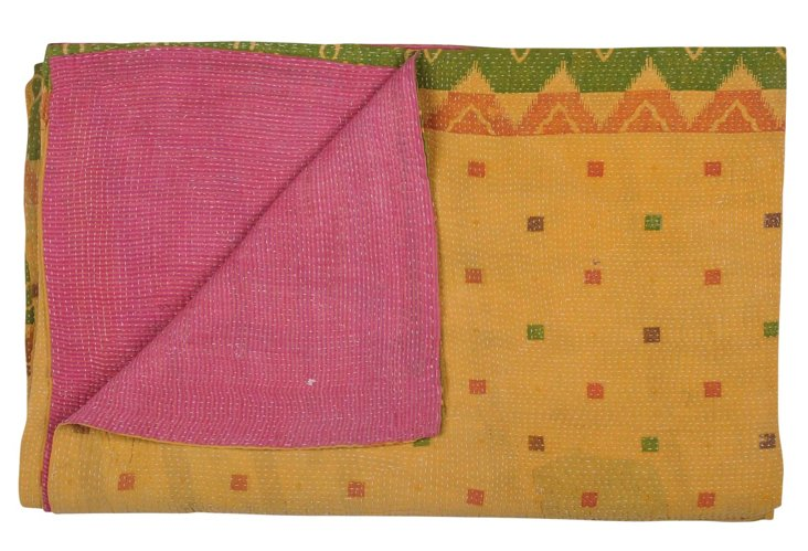 Hand-Stitched Kantha Throw, Marine