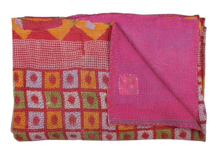 Hand-Stitched Kantha Throw, Melon