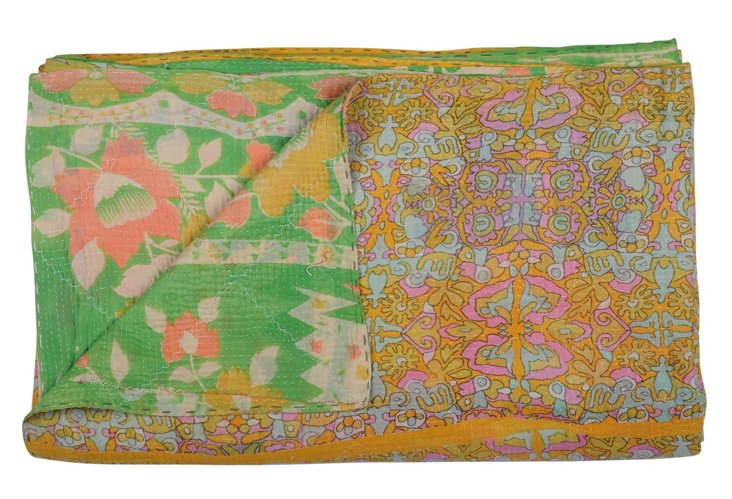Hand-Stitched Kantha Throw, Truth