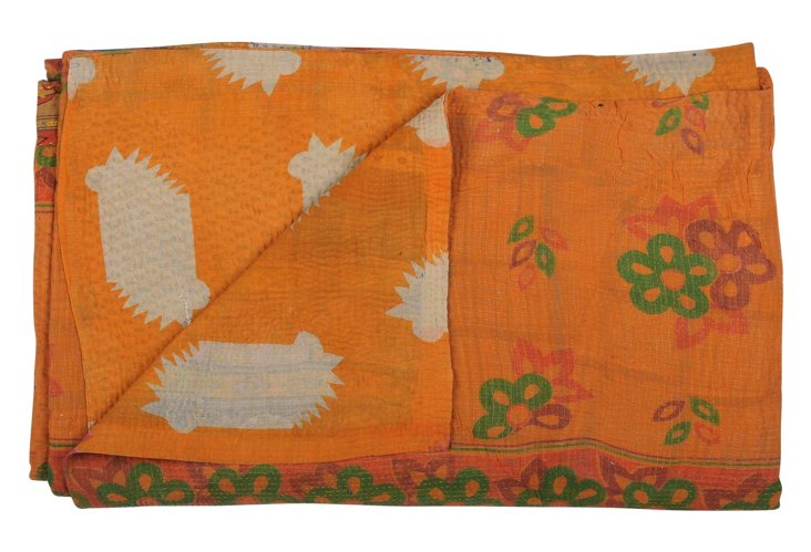 Hand-Stitched Kantha Throw, Glory