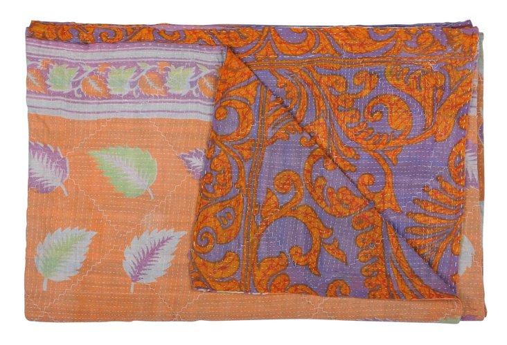 Hand-Stitched Kantha Throw, Snow