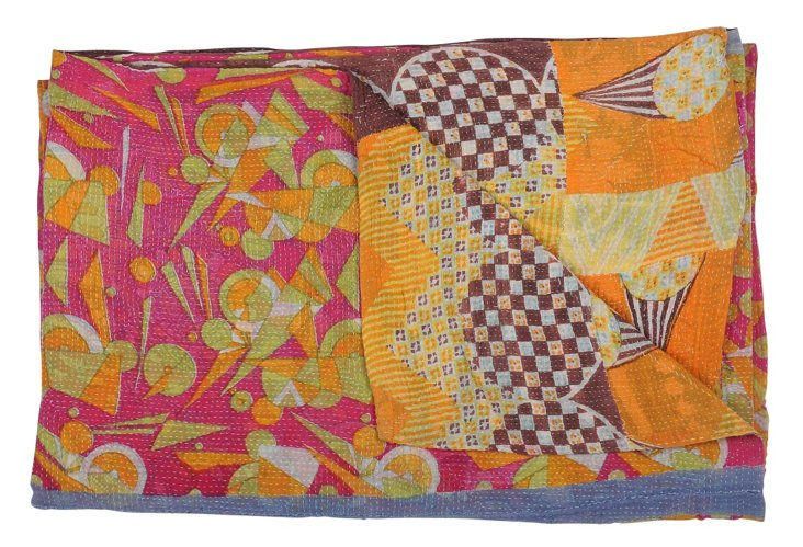 Hand-Stitched Kantha Throw, Pride