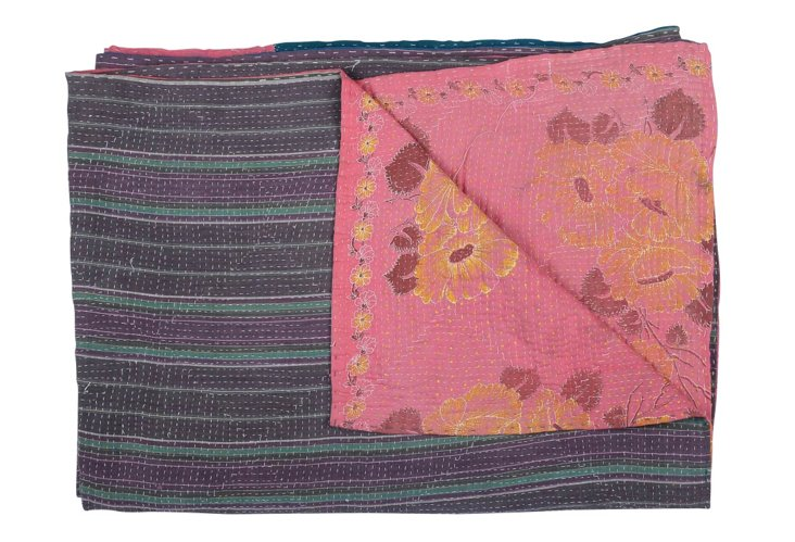 Hand-Stitched Kantha Throw, Patriotic