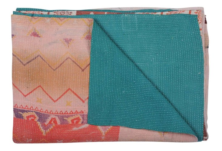 Hand-Stitched Kantha Throw, Earth