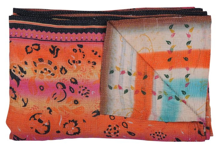Hand-Stitched Kantha Throw, Candace