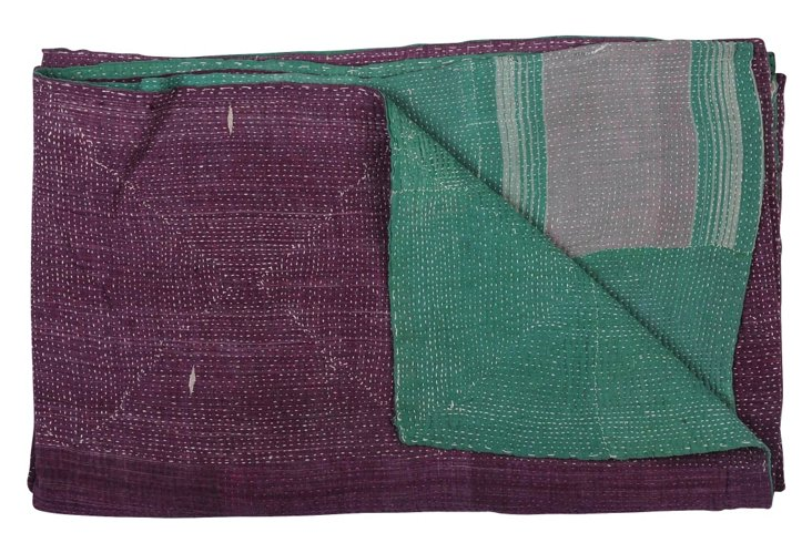 Hand-Stitched Kantha Throw, Abby