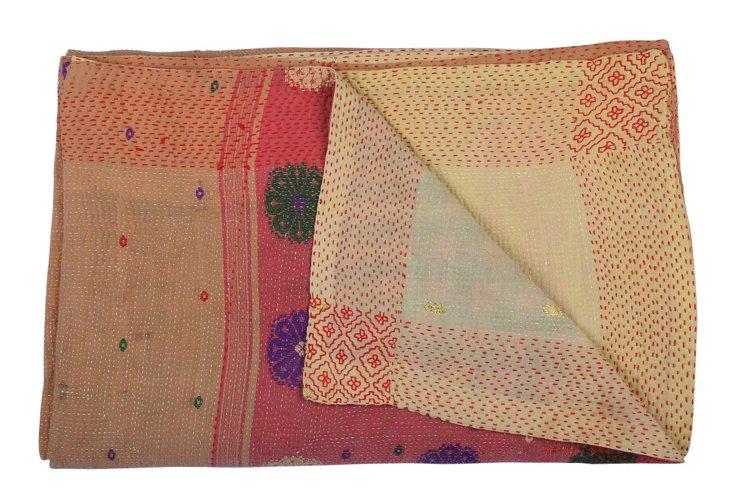 Hand-Stitched Kantha Throw, Merlot