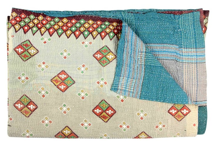 Hand-Stitched Kantha Throw, Pond