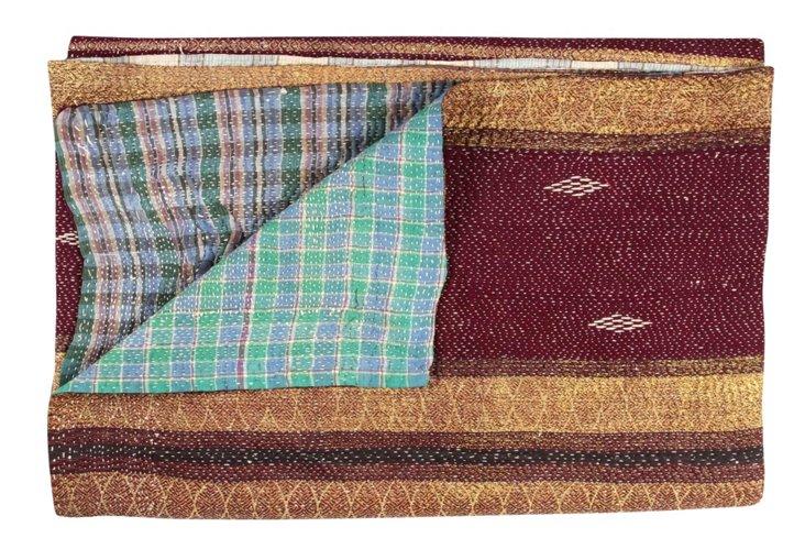Hand-Stitched Kantha Throw, Springtime