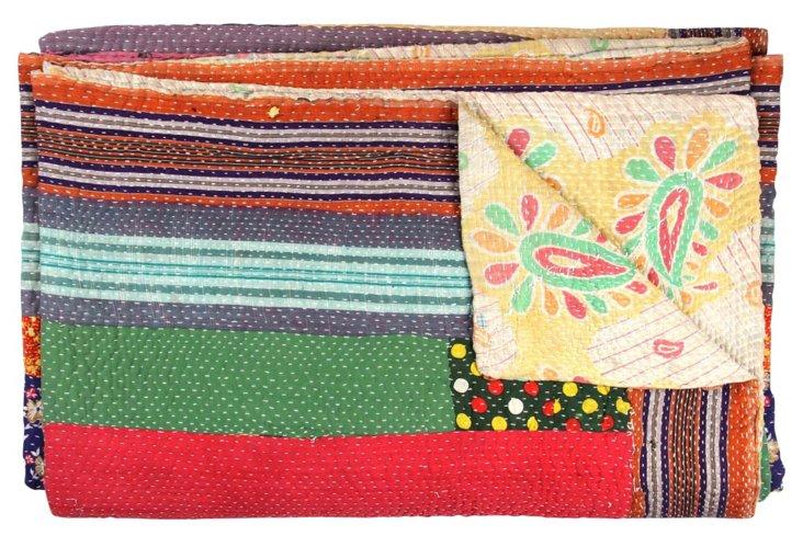Hand-Stitched Kantha Throw, Sanawad