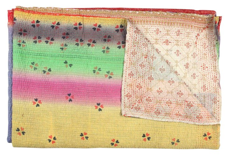 Hand-Stitched Kantha Throw, Mukhed