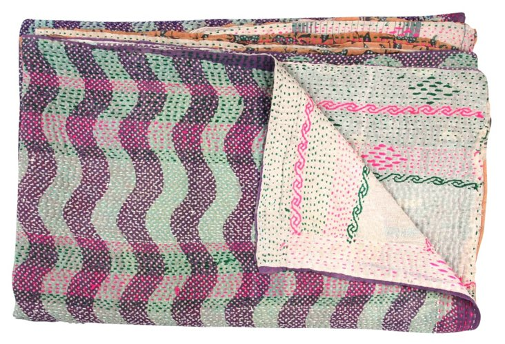 Hand-Stitched Kantha Throw, Haldwani