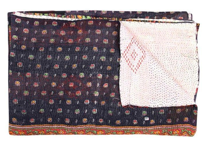 Hand-Stitched Kantha Throw, Fazika