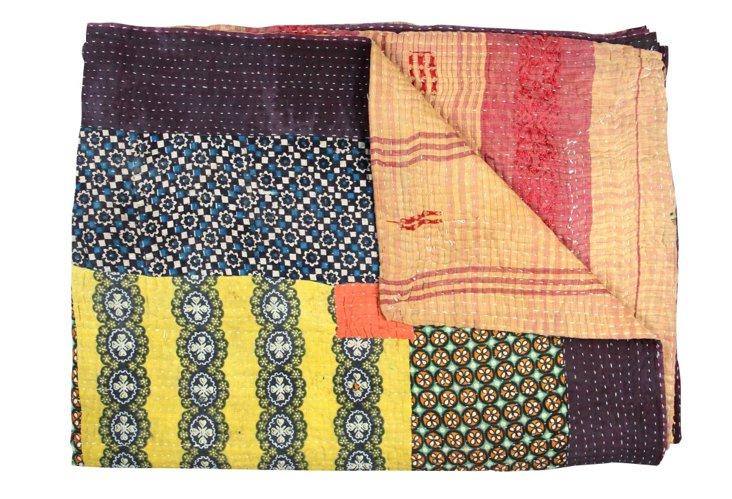 Hand-Stitched Kantha Throw, Bihamat