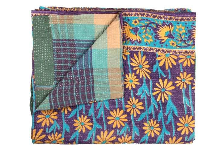 Hand-Stitched Kantha Throw, Shibini