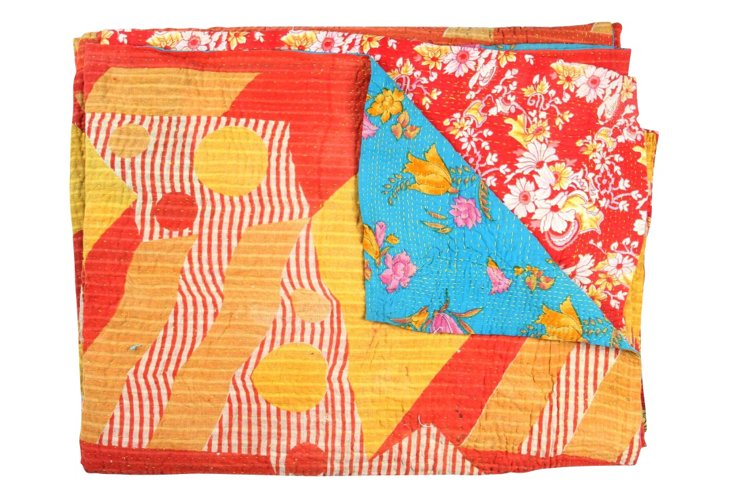 Hand-Stitched Kantha Throw, Baracco