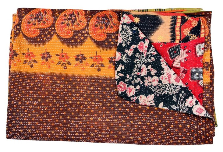 Hand-Stitched Kantha Throw, Maraccuene