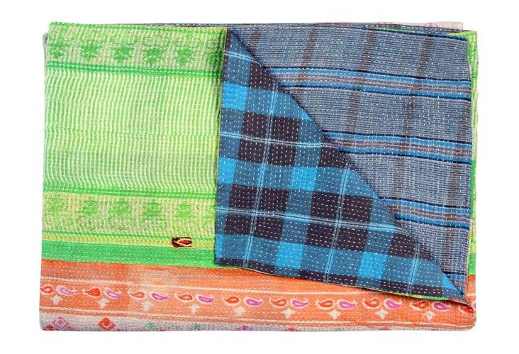 Hand-Stitched Kantha Throw, Aisha