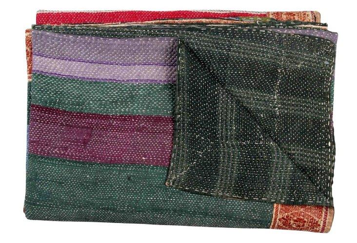 Hand-Stitched Kantha Throw, Jamila