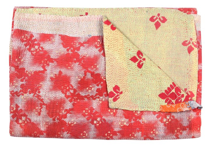 Hand-Stitched Kantha Throw, Amina