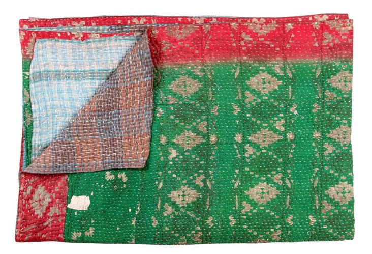Hand-Stitched Kantha Throw, Inas