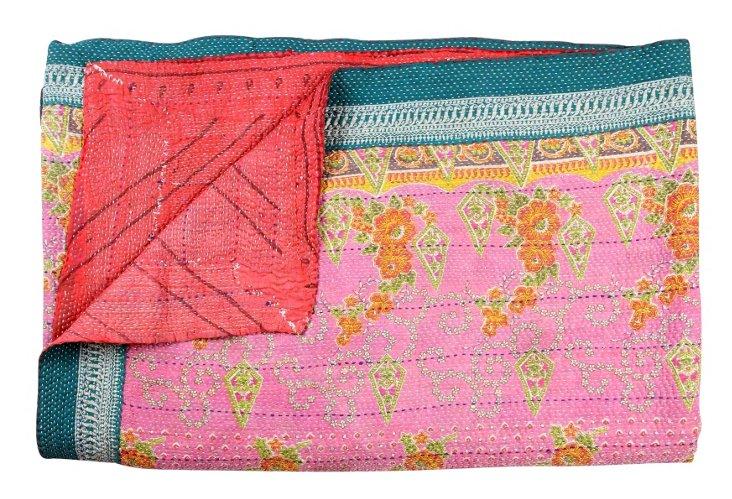 Hand-Stitched Kantha Throw, Ekaa