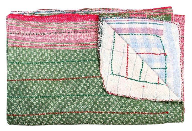 Hand-Stitched Kantha Throw, Fantasia