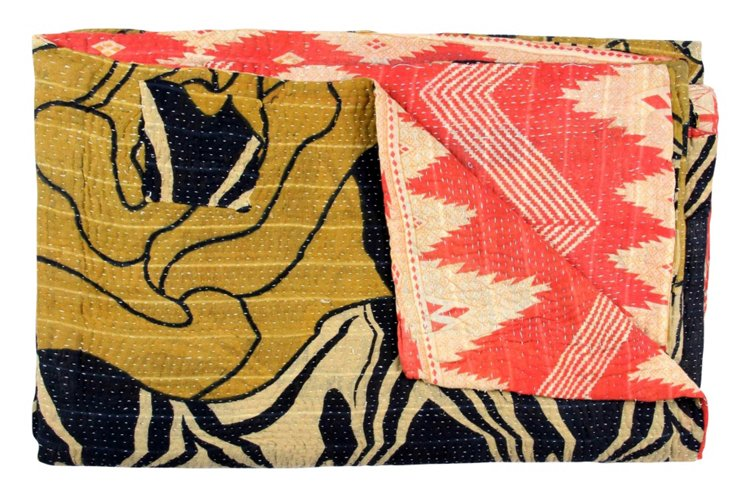 Hand-Stitched Kantha Throw, Tanvee