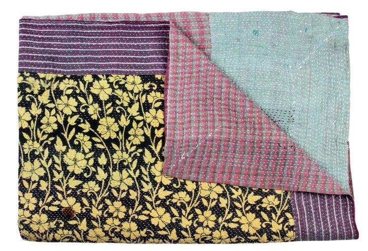 Hand-Stitched Kantha Throw, Teertha
