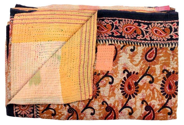 Hand-Stitched Kantha Throw, Triguni