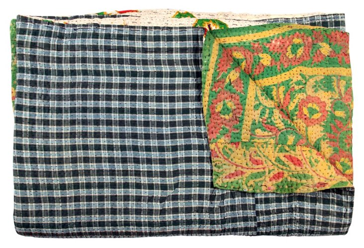 Hand-Stitched Kantha Throw, Nabah