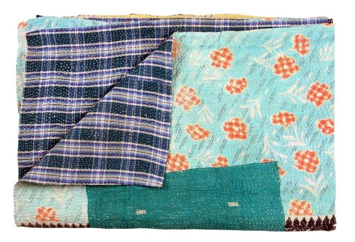 Hand-Stitched Kantha Throw, Nagina