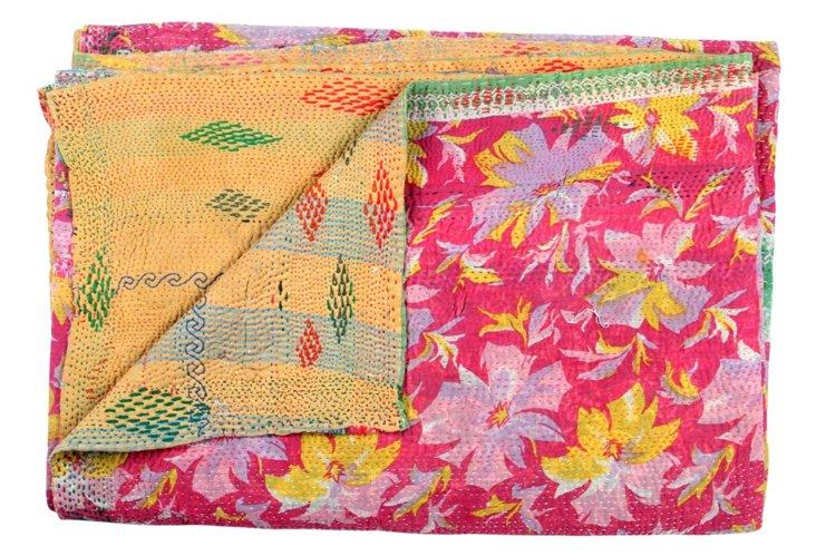 Hand-Stitched Kantha Throw, Nalika