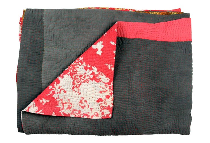 Hand-Stitched Kantha Throw, Nartan